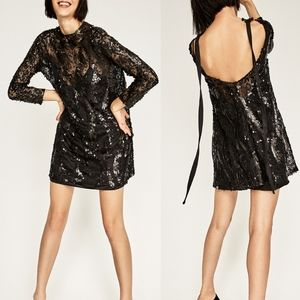 ZARA High Neck Sequinned Dress